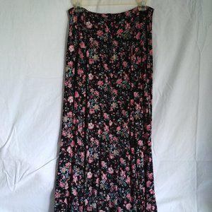 Vtg 100% Rayon Button Front Maxi Skirt Streetwear